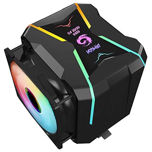Gegong G400-ARGB CPU-Kühler AM4 CPU-Kühler 5V adressierbarer RGB-Kühler 2 Kühlkörper 2 Lüfter 4 Heatpipes CPU-Luftkühler PWM-Lüfter + ARGB-Beleuchtungslüfter, Intel/AMD