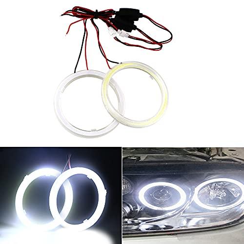 Qasim 1-Pair White 60MM 45SMD COB LED Halo Ring Angel Eyes Led Headlight Warning Lamps with Lampshade Cover 12V 24V