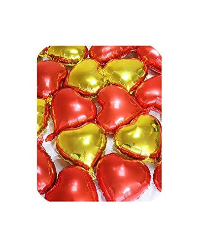 tiryiity Globo de Helio de Aluminio de Color Puro, con Forma de corazón, Color Dorado, Plateado y Rojo, para decoración de Bodas, cumpleaños, Fiestas, 15 Unidades