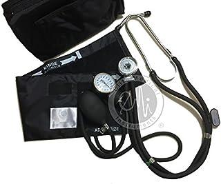 Elite Medical Instruments EBE-330-Black EMI Sprague Rappaport Stethoscope and Aneroid Sphygmomanometer Blood Pressure Set Kit, Black