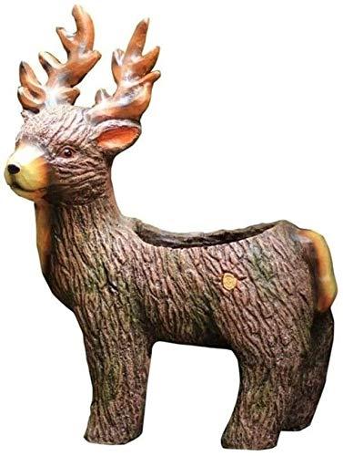 HJTLK Estatua de jardín Adorno de jardín Adornos de jardín Resina Pastoral al Aire Libre Animal Elk Adornos de Maceta Parque al Aire Libre Escultura Artesanía Decoración Patio Gar