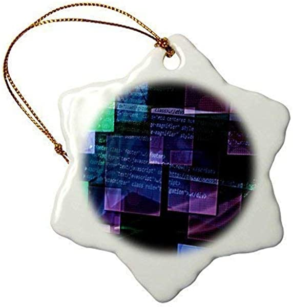 Christmas Craft Tree Decorations Purple Blue Green Floating Technical Squares With Internet Coding Snowflake Christmas Ornament Porcelain Present