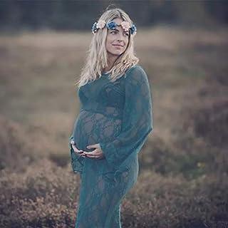 マタニティママドレスマタニティ記念写真 ワンピース お洒落 写真撮影ドレス 写真撮る衣装 プレママ 臨月 妊娠の姿を記念に!ワンピース オフショルダー妊娠中 道具 長袖 美しい 素敵 (グリーン)