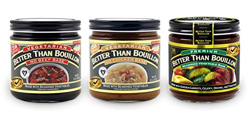 Better Than Bouillon Variety Pack- No Beef Base, No Chicken Base, & Vegetable Base 8oz jars (3 Pack; 1 each) with BTB Authenticity Seal