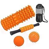 フォームローラー 筋膜リリース マッサージボール 2個 マッサージローラースティック 5点セット ヨガポール エクササイズトレーニング 腰痛・肩コリ・ストレス解消 筋肉痛改善 マニュアル 収納袋付き