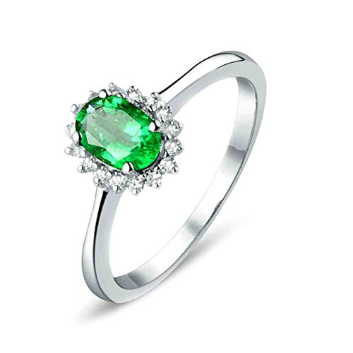 AtHomeShop Real Gold Collection, 18K White Gold Rings, Flowers 4 Claw Women's Rings with Sparkling Oval Emerald and Diamond Marriage Proposal Ring for New Year Gift White Gold