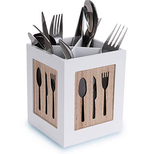 LONGBLE Cesta de cubiertos para cuchillos, tenedores, cucharas y utensilios de cocina, cesta para guardar cubiertos, cucharas de cocina, paleta, recipiente decorativo