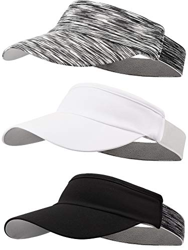 SATINIOR 3 Pieces Visor Caps Adjustable Sun Visor Hat Sports Hat Lightweight Quick Dry Hat for Women Men Golf Tennis Cycling Running Jogging, White, Gray, Black, Large