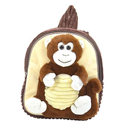 Kögler 85422 Pluche rugzak, voor kinderen, aap, pluizig zacht, met draaggreep en in lengte verstelbare draagriem, ca. 35 cm groot, voor jongens en meisjes, bruin/beige