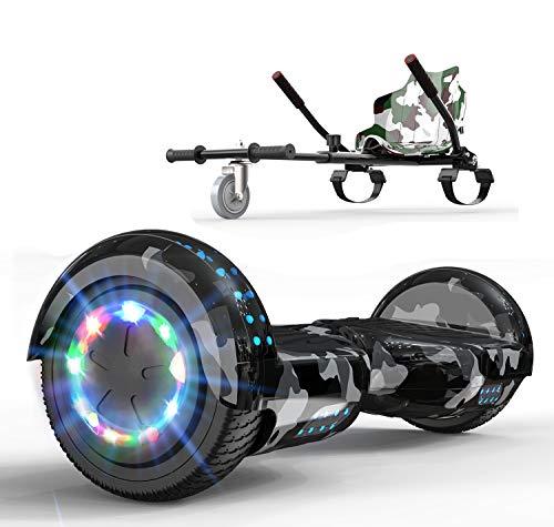 RCB Hoverboard mit Sitz komplett Set für Kinder, Elektro Skateboard mit Hoverkart, Elektroroller mit Bluetooth und LED-Lichtern