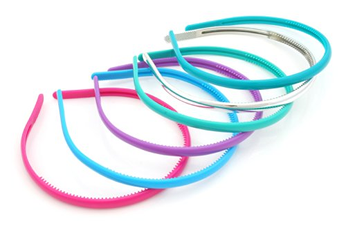 6 Alice Bands 1cm Wide Pink Blue, Green & Silver Hair Accessories by Zest