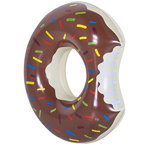 GOODS+GADGETS Aufblasbarer Donut Schwimmreifen 100cm Pool Party Riesen Schwimmring aufblasbar braun