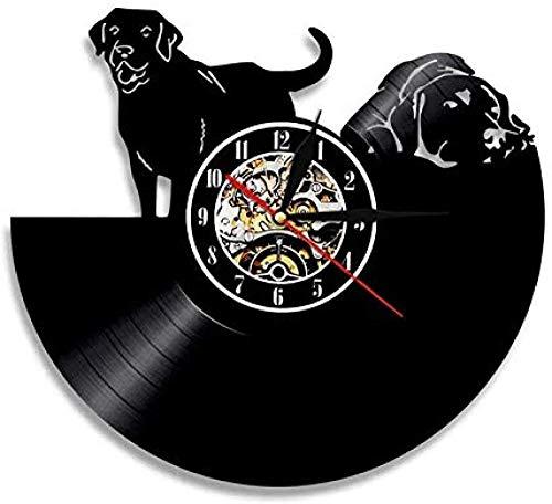 Reloj de Pared de Vinilo Reloj de Pared de Vinilo para Perro Animal Vintage Moderno Regalo Hecho a Mano para Perro Mascota decoración del hogar Arte Colgante de Pared