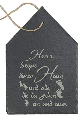 Feiner-Tropfen Schild Haussegen Spruchtafel Schiefer Wanddekoration Richtfest Einzug Haus Herr segne.