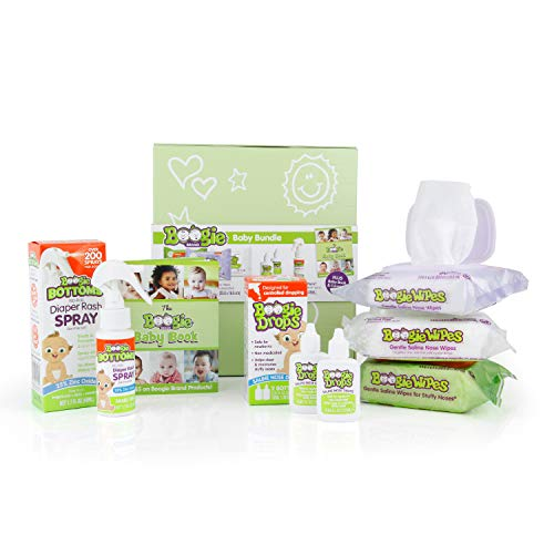 Baby Gift Set by Boogie Wipes, Baby Wipes by Boogie Wipes 120 Count, Diaper Rash Cream Spray by Boogie Bottoms 1 Pack, Baby Nasal Saline Drops by Boogie Drops 2 Pack