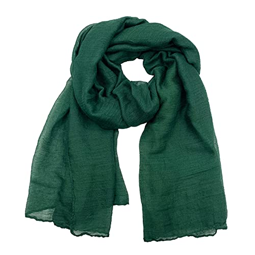 Woogwin Women's Cotton Scarves Lady Light Soft Fashion Solid Scarf Wrap Shawl (One Size, DarkGreen)