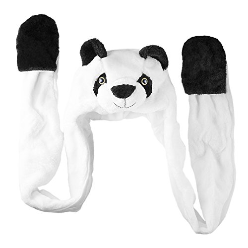 Super Z Outlet Panda Bear Plush Animal Winter Ski Hat Beanie Aviator Style Winter (Long)