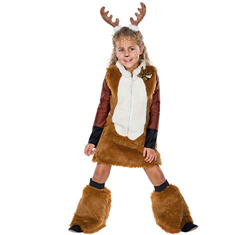 Mottoland Disfraz infantil de corzo, ciervo, cervatillo, vestido marrn, carnaval (104)
