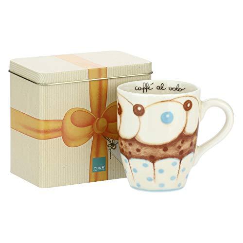 THUN ® - Mug con Scatola in Latta Linea New Sweet Cake - per tè, caffè tisana - Porcellana - 300 ml - Ø 8,5 cm