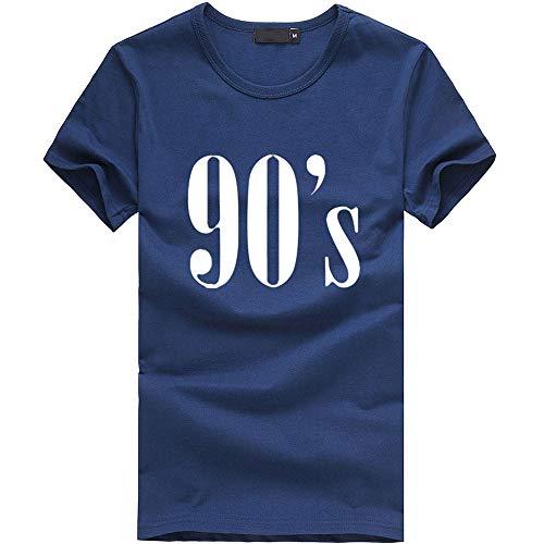 Mode Damen Shirt, lose Tunika Kurzarm 90er Jahre Brief T-Shirt lässig Oansatz Wild Tops Tägliche Party Dating Wear Basis Shirt(Blau,Small)