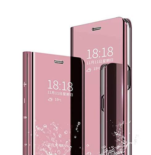 Wuzixi Hülle für Oppo Find X2 Neo. Smart Hülle, Tasche Smart Spiegelüberzug Sleep Flip Leder Tasche Smart Leder Tasche Schutzhülle für Oppo Find X2 Neo.Roségold
