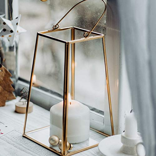 Portavelas Retro Geometric Candle Holder Glass Copper Frame Portátil Flower Room Desktop Decorativo Multi-Function Candlestick Wind Light