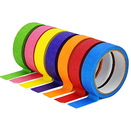 TradeGear Colored Masking Tape 7 Pk � 1 Inch x 15 Yards (45 Ft) - Rainbow Color General Purpose Craft Paper Tape � Perfect for Art, Labeling, Color Code, Classrooms, Painters, Kids, Home, Office, DIY
