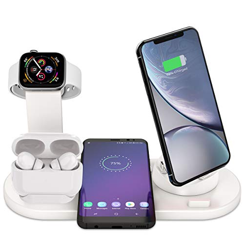 Bestrans Wireless Charger, 6 in 1 Charge Ständer für Apple Watch, Airpods und Smartphone, Fast Qi Ladestation für iPhone XR/XS/Xs Max/X/8 Plus/8 Samsung Galaxy Huawei Xiaomi etc (Weiß)