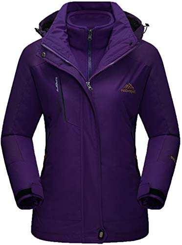 TACVASEN 3 in 1 Jacke Damen Wasserdicht Wanderjacke Atmungsaktiv Outdoorjacke Winter Arbeitsjacke Softshell Skijacke Outdoor Fleecejacke Lang Winterjacke Warm Damenjacken Winddicht Funktionsjacke