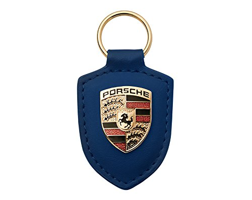 Boxiti Genuine Key Chain Ring for Porsche Vehicle Keys 82mm x 43mm Porsche Crest Keyfob with Fine Red Leather Fob for Porsche Owners