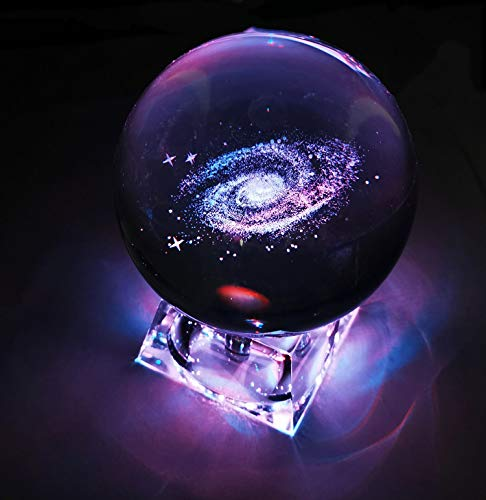 FINROS 3D Crystal Ball with Solar System Model and LED lamp Base, Solar System Crystal Ball, Best Birthday Gift for Kids, Teacher of Physics, Girlfriend Gift, Classmates and Kids Gift (Galaxy 80mm)