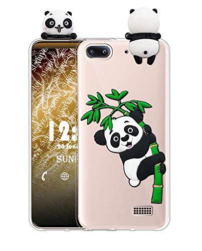 Sunrive Cover per Honor 4C/Huawei G Play Mini, Custodia 3D Case in Molle Trasparente TPU Silicone Morbida Flessibile AntiGraffio Protettiva Protector Back custodie Bumper(W1 Panda 2)