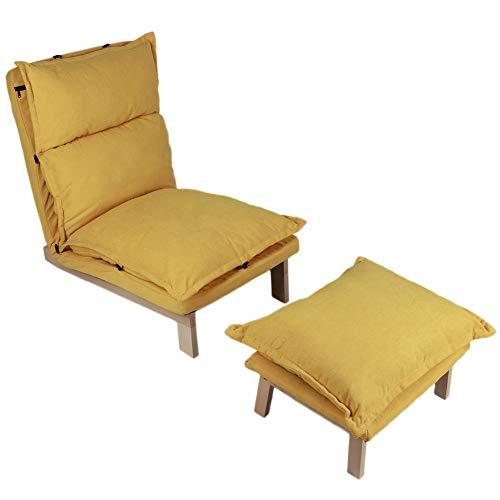 Ejoyous Gepolsterter Bodenstuhl mit Fußschemel, Relaxliege Liegesessel Relaxsessel mit Abnehmbarem Stoffkissen und winkelverstellbarer Rückenlehne für Wohnzimmer Schlafzimmer Toilette Heimkino (Gelb)