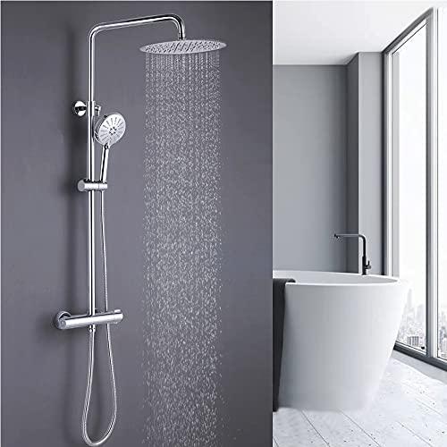 ONECE Duschsystem mit Thermostat Mischbatterie, Edelstahl Regendusche Duschset mit 3 Function Handbrause, Überkopfbrause, höhenverstellbar Duschstange, Chrom