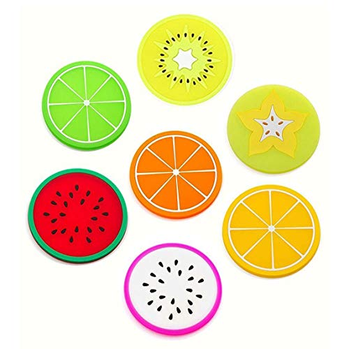 7 Pieza Creativa Fruta Posavasos, Posavasos de Silicona, Tipos de Café té Cristal Posavasos Portavasos Mat para Cocina Salón y Bar