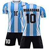 1986 Argentina Football Jersey,for Maradona NO.10 Men's Retro Commemorative Football Jersey Set (M)