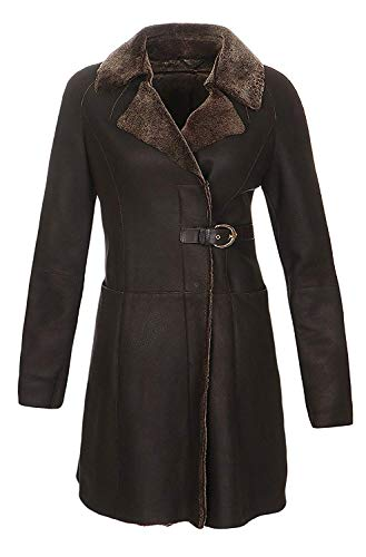 Hollert German Leather Fashion Lammfellmantel - Shearling Entrefino Ledermantel Damen Mantel Wintermantel Size M, Color Braun