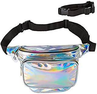 Lucky Boutique Holographic Fanny Pack, Belt Bag for Women | Adjustable Supreme Waist Bag, Phanny Pack for Kids, Adults, Silver | Great for Hiking, Travel, Festival, Rave, Party