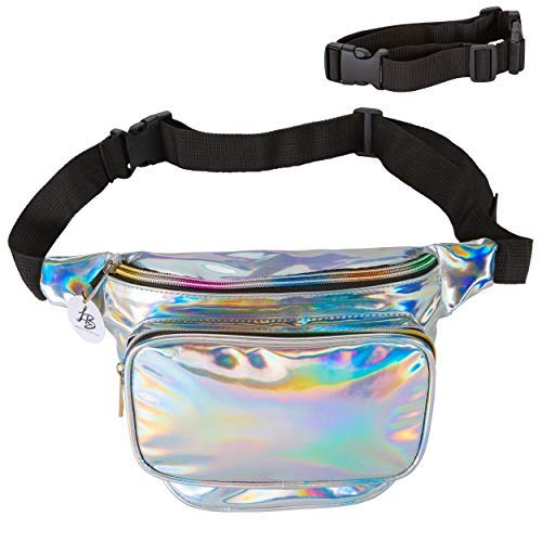 bf7558e5bf Lucky Boutique Holographic Fanny Pack, Belt Bag for Women   Adjustable  Supreme Waist Bag, Phanny Pack for Kids, Adults, Silver   Great for Hiking,  Travel, ...