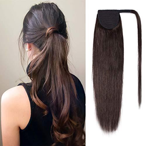 """20""""(50cm) SEGO Coleta Postiza Lisa Pelo Natural [#2 Marrón Oscuro] Extensiones de Cabello Humano Clip Remy Ponytail Extension Human Hair (95g)"""