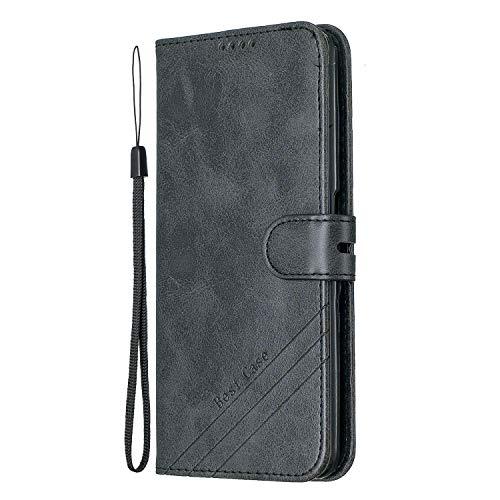 Lomogo Galaxy A80 / A90 Hülle Leder, Schutzhülle Brieftasche mit Kartenfach Klappbar Magnetisch Stoßfest Handyhülle Case für Samsung Galaxy A80/A90 - LOHEX120124 Schwarz