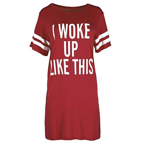 2018 Damen Shirt Kurzarm Ronamick I Woke Up Like This Frau Damen übergroß T-Shirt Top Baggy Tunika Nachtkleid (Wein, L)