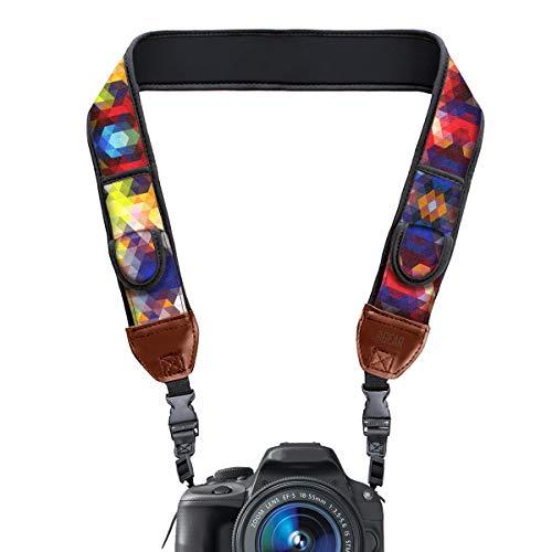 USA Gear Correa para Cámara de Fotos de Neopreno. Para Camaras Reflex, Evil y Compactas. Compatible con Canon, Nikon, Sony, Olympus, Pentax, Fujifilm, Samsung y muchas más, Diseño con Geométrico.