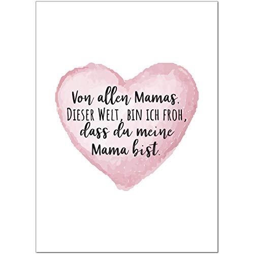 Postkarte Die beste Mama der Welt/Moderne Karte mit Umschlag/zum Muttertag/für Mama