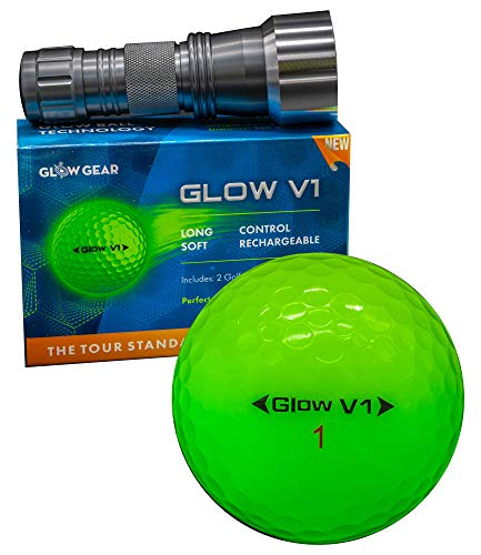 GlowV2 Night Golf Balls (6-Pack) - Best Hitting Ultra Bright Glow Golf Ball - Compression Core and Urethane Skin