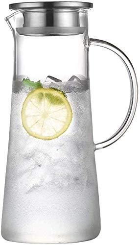 Resistente al calor Jarra de vidrio de jarra de agua con tapa de vidrio de jarra de agua CARAFES Borosilicato y acero inoxidable Tapa de vidrio Tarifa de vidrio Té helado Té caliente Frío Vino Café Le