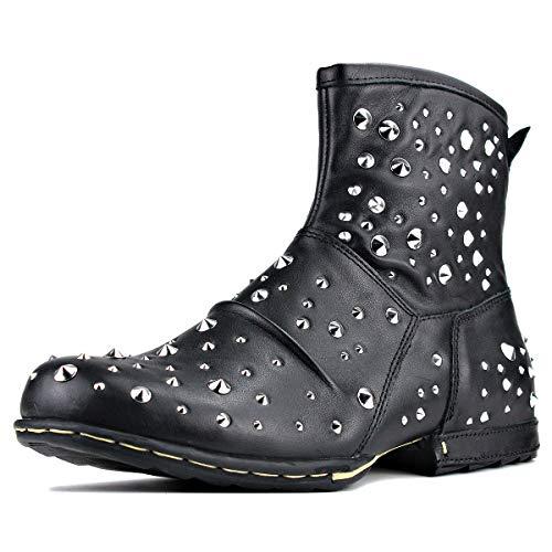 OSSTONE Herren Leder chukkastiefel Worker Biker Boots-Motorrad-Leder-Schuhe für reißverschluss Schnürstiefeletten Boots mit Nieten 5008-1-M1 Silber Schwarz 10.5
