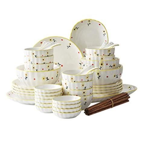 ZLDGYG Juego de vajillas de cerámica de 56 Piezas, Platos para el hogar y Conjunto de combinación de Cuchara, diseño de patrón Lindo Creativo (Color : A)
