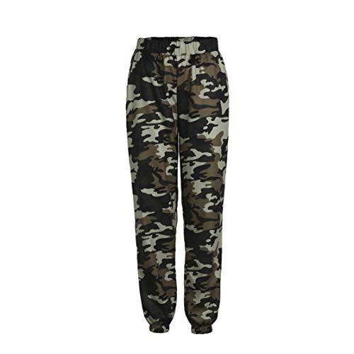 Loalirando Pantaloni mimetici da donna, stile cargo mimetico, elasticizzati in vita, colore grigio/rosa/verde verde M