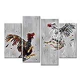 XKLDP Lienzo de Pelea de gallos Carteles de Animales Pintura Impresiones de Pared Arte 4 Paneles decoración de habitación de pollo-40x80cmx2 40x100cmx2 sin Marco